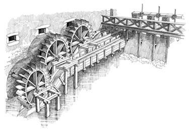 Disegno antico di mulino ad acqua